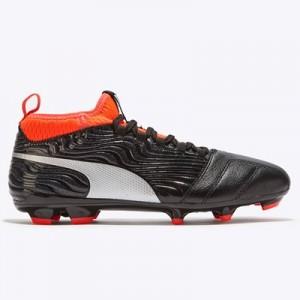 Puma One 18.3 Firm Ground Football Boots - Black/Silver/Red Blast - Kids