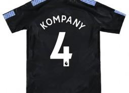Manchester City Third Stadium Shirt 2017-18 - Kids with Kompany 4 printing