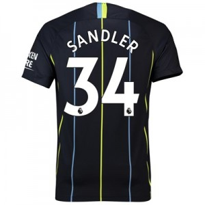 Manchester City Away Stadium Shirt 2018-19 with Sandler 34 printing