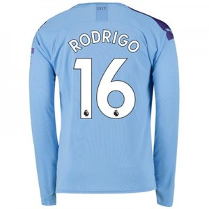 Manchester City Home Shirt 2019-20 - Long Sleeve with Rodrigo 16 printing