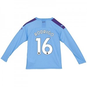 Manchester City Home Shirt 2019-20 - Long Sleeve - Kids with Rodrigo 16 printing
