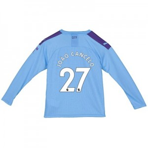 Manchester City Home Shirt 2019-20 - Long Sleeve - Kids with João Cancelo 27 printing