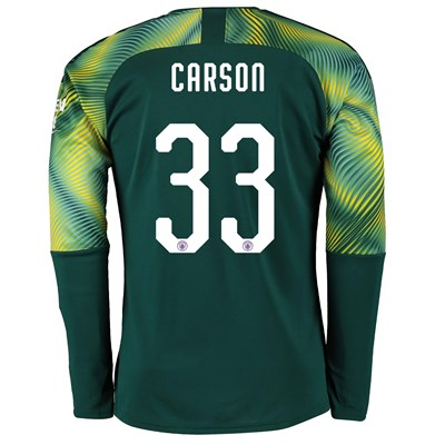 Manchester City Home Cup Goalkeeper Shirt 2019-20 with Carson 33 printing