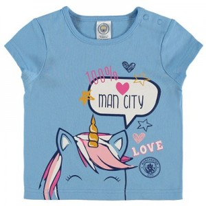 Manchester City Infant Unicorn T Shirt - Sky - Girls