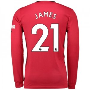 Manchester United Home Shirt 2019 - 20 - Long Sleeve with James 21 printing