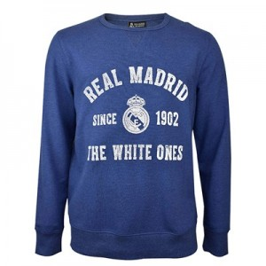 Real Madrid Distressed Print Crew Neck Sweater - Blue - Mens