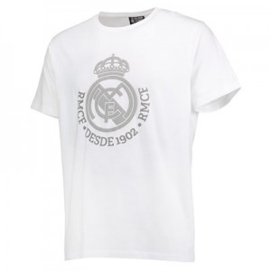 Real Madrid Tonal Crest T-Shirt – White – Mens