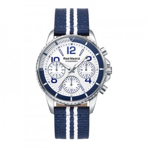 Real Madrid Fashion Stripe Strap Watch - Blue-White - Junior