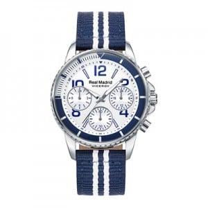 Real Madrid Fashion Stripe Strap Watch - Blue-White - Junior