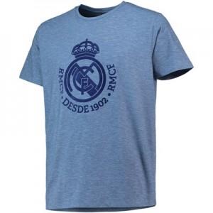Real Madrid Large Printed Crest T-Shirt - Blue - Mens