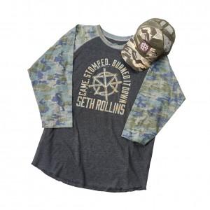 Seth Rollins Camouflage Raglan Baseball Shirt & Hat Set