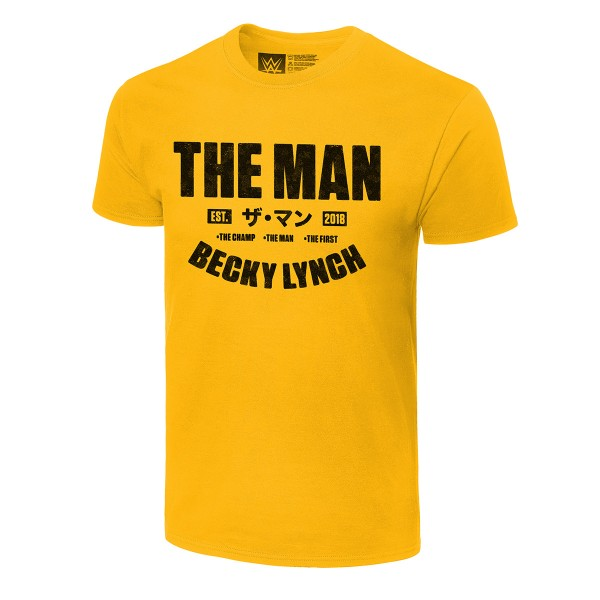 """Becky Lynch """"The Man Est. 2018"""" Authentic Yellow T-Shirt"""